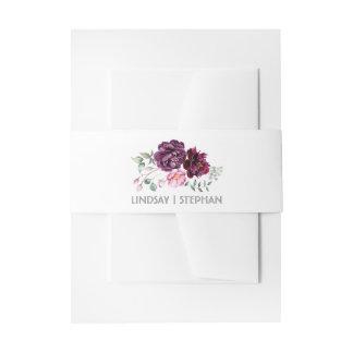 プラム紫色の水彩画によってはエレガントな結婚式が開花します 招待状ベリーバンド
