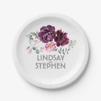 プラム紫色の水彩画の花花束の結婚式 ペーパープレート