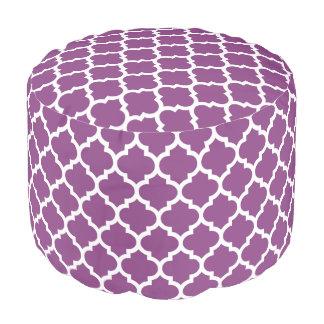 プラム紫色の白いモロッコのクローバーパターン#5 プーフ