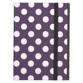 プラム紫色の白い水玉模様 iPad AIRケース