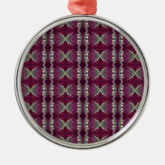 プラム紫色の真新しい緑のフリルが付いたダイヤモンドのダイヤモンド メタルオーナメント