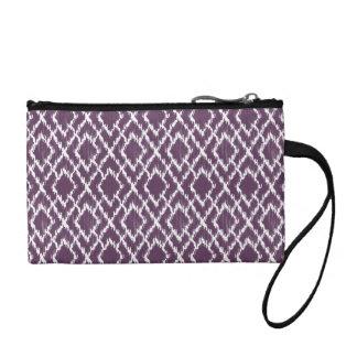プラム紫色の種族のプリントのイカットのGeoのダイヤモンドパターン コインパース