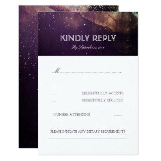 プラム紫色夜はエレガントな結婚RSVPカードを主演します カード