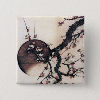 プラム花および月、Hokusai 5.1cm 正方形バッジ