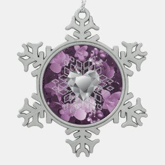 プラム花のダイヤモンドのハートの雪片のオーナメント スノーフレークピューターオーナメント