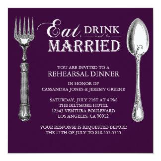 プラム-飲み物を食べ、結婚したなリハーサルの招待があって下さい カード