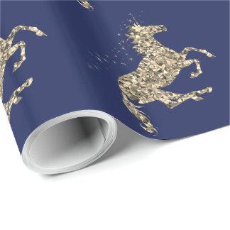 プリズム金ゴールドのユニコーンの青い包装紙 ラッピングペーパー