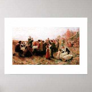 プリマスのファインアートポスターの最初の感謝祭 ポスター