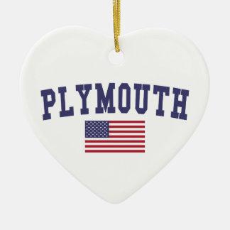 プリマス米国の旗 セラミックオーナメント
