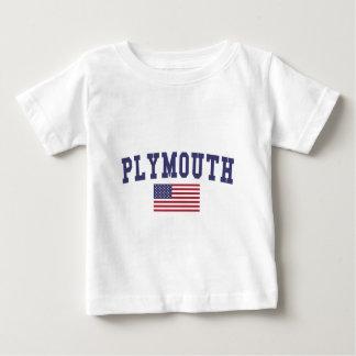 プリマス米国の旗 ベビーTシャツ
