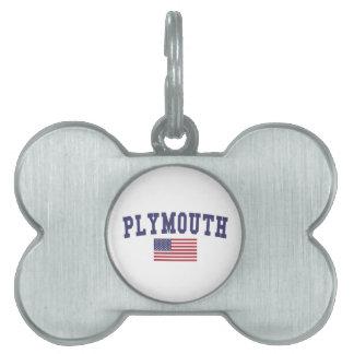 プリマス米国の旗 ペットネームタグ