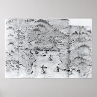 プリマス、c.1539の地図 ポスター
