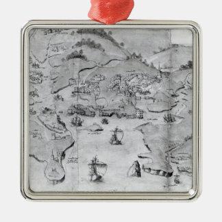 プリマス、c.1539の地図 メタルオーナメント