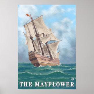 プリマス、MayflowerのMassachusettsView ポスター