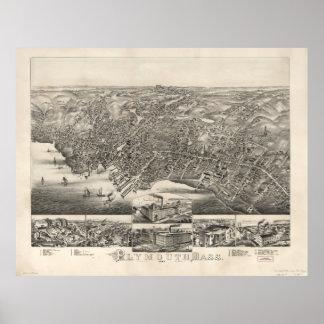 プリマスMA (1882年)のヴィンテージの絵解き地図 ポスター