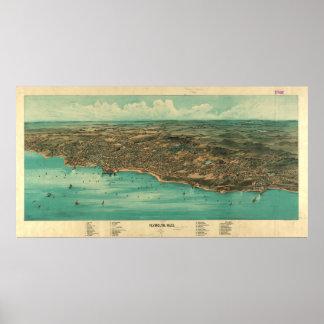 プリマスMA (1910年)のヴィンテージの絵解き地図 ポスター