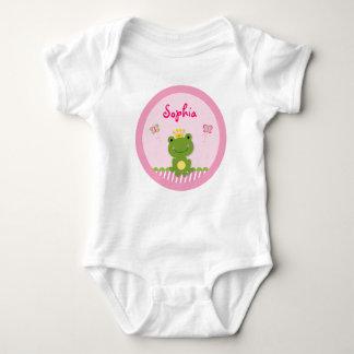 プリンセスのカエルの名前入りなベビーのTシャツ ベビーボディスーツ