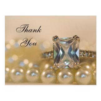 プリンセスのダイヤモンド指輪および真珠の結婚は感謝していしています はがき