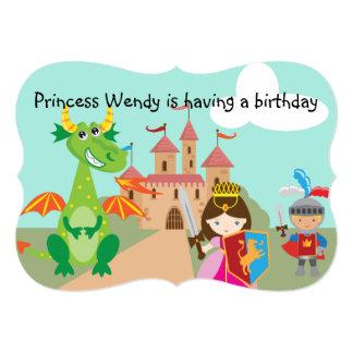 プリンセスのドラゴンおよび騎士誕生日の招待 カード