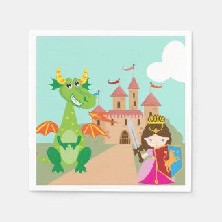 プリンセスのドラゴンおよび騎士 スタンダードカクテルナプキン