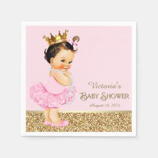 プリンセスのバレリーナのピンクの金ゴールドのベビーシャワー スタンダードカクテルナプキン