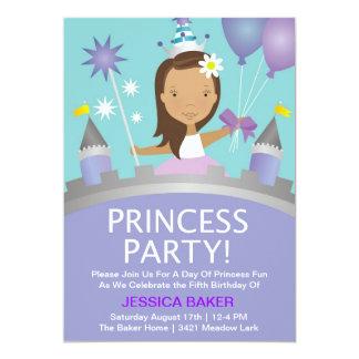 プリンセスのパーティー-紫色 12.7 X 17.8 インビテーションカード
