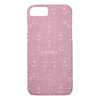 プリンセスのピンクの空想のガーリーな花のダマスク織パターン iPhone 8/7ケース