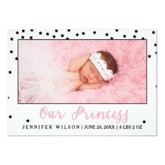プリンセスの女の子の赤ん坊の誕生の発表の写真カード カード