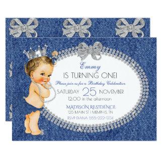 プリンセスの女の赤ちゃんのデニム及びダイヤモンドの弓 カード