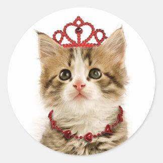 プリンセスの子ネコのステッカー ラウンドシール
