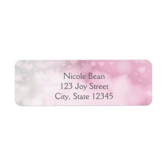 プリンセスの細い棒及び王冠の銀製のピンクの宛名ラベル ラベル