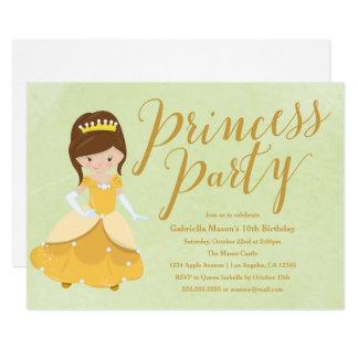 プリンセスの誕生会の招待-ブルネットか金ゴールド カード