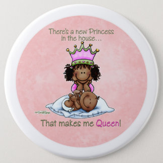 プリンセスアフリカ系アメリカ人の大きいSisボタンの女王 15.2cm 丸型バッジ