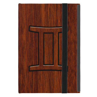 プリントのようなブラウンのマホガニーのジェミニ記号 iPad MINI ケース