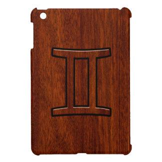 プリントのようなマホガニーのモダンなジェミニ(占星術の)十二宮図の記号 iPad MINI カバー
