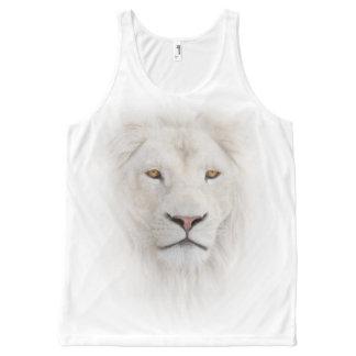 プリントのタンクトップをくまなく白いライオンの頭部 オールオーバープリントタンクトップ