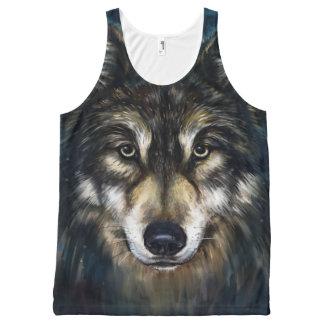 プリントのタンクトップをくまなく芸術的なオオカミの顔 オールオーバープリントタンクトップ