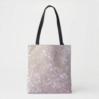 プリントのトートをくまなくガーリーなグリッターのピンクのバラの金ゴールド トートバッグ
