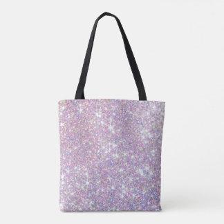 プリントのトートバックをくまなくガーリーなグリッターのピンクの紫色 トートバッグ