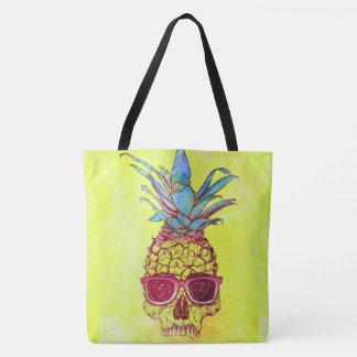 プリントのトートバックをくまなくサングラスのスカルのパイナップル トートバッグ