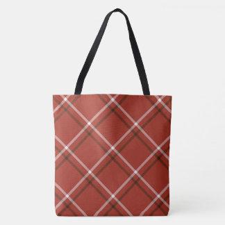 プリントのトート-赤い格子縞をくまなく トートバッグ