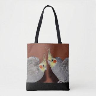 プリントのバッグをくまなくCockatielのデュオ トートバッグ