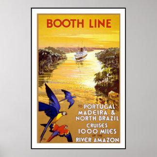 プリントのレトロのヴィンテージのイメージ旅行アマゾン川 ポスター