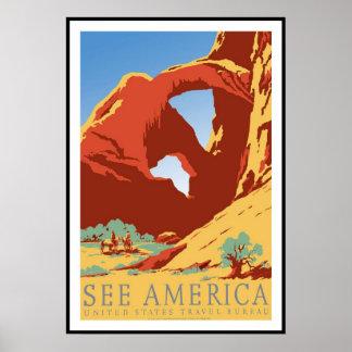 プリントのレトロのヴィンテージのイメージ旅行アメリカ ポスター