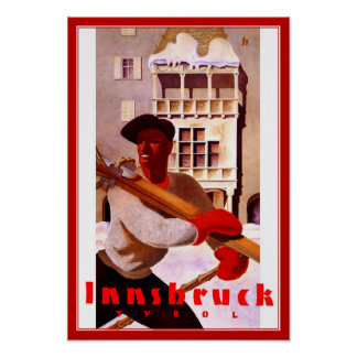 プリントのレトロのヴィンテージのイメージ旅行インスブルックのスキー ポスター