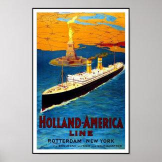 プリントのレトロのヴィンテージのイメージ旅行オランダ-アメリカ ポスター