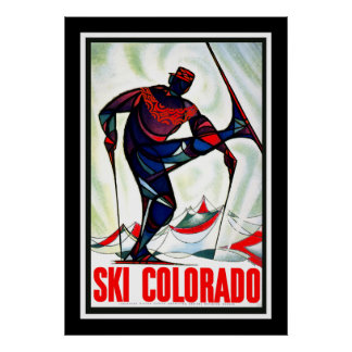 プリントのレトロのヴィンテージのイメージ旅行コロラド州のスキー ポスター