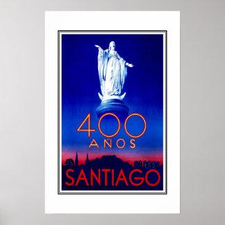 プリントのレトロのヴィンテージのイメージ旅行サンティアゴ ポスター