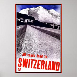 プリントのレトロのヴィンテージのイメージ旅行スイス連邦共和国 ポスター