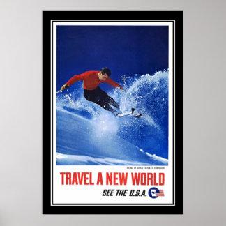 プリントのレトロのヴィンテージのイメージ旅行スキー世界米国 ポスター